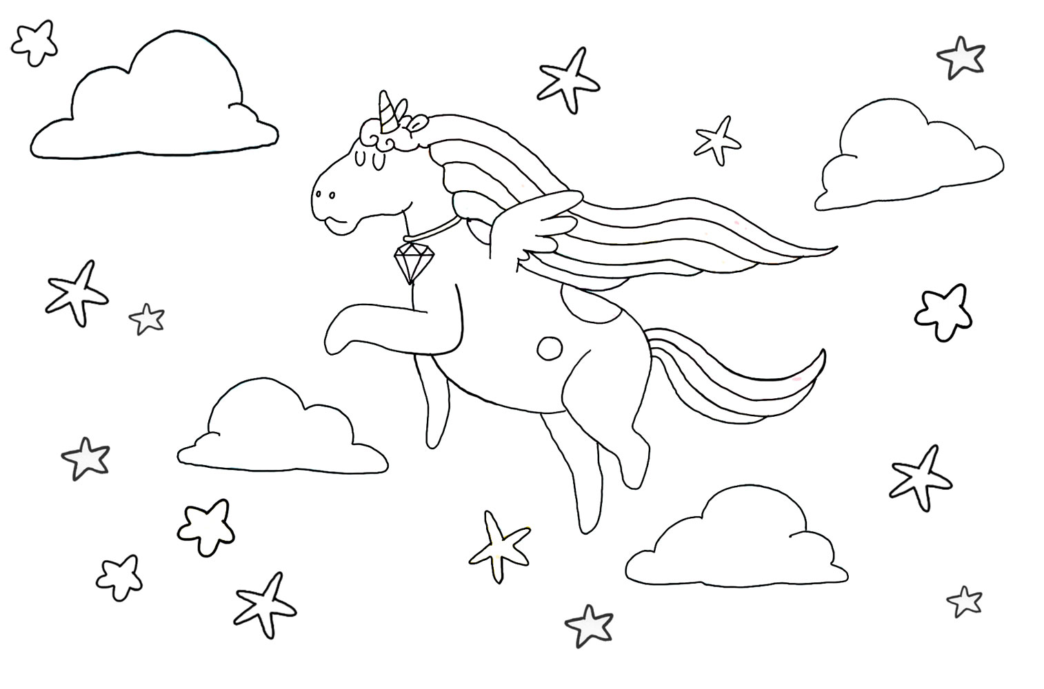 This is a printable colouring page of a cure unicorn flying through a starry sky
