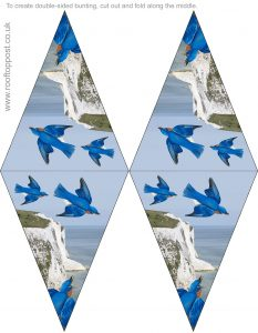 Beautiful double-sided bunting of bluebirds flying over the white cliffs of Dover, designed for VE Day