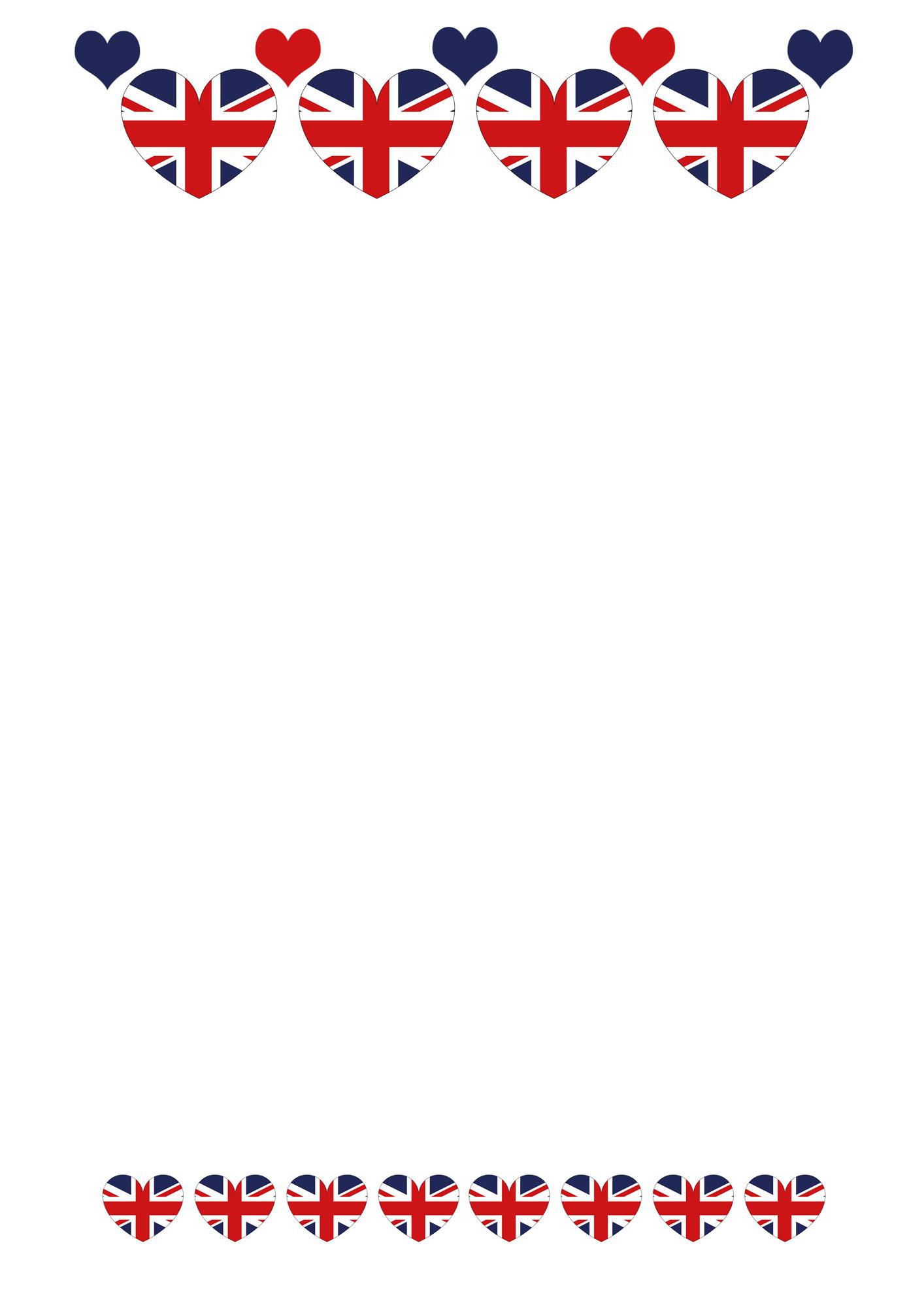 British flag themed blank notepaper