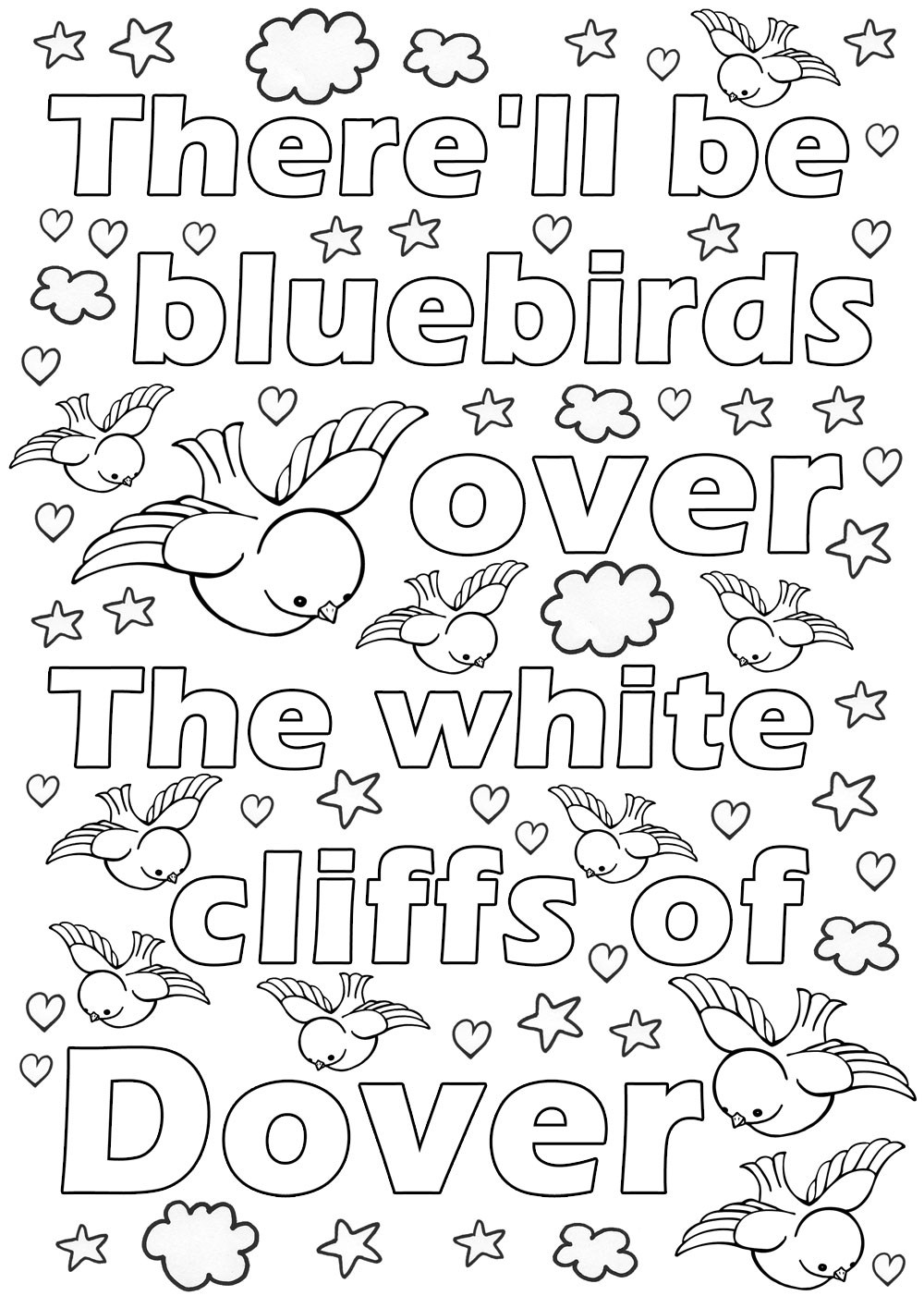 Kids colouring page to print for VE Day - There'll be bluebirds over the white Cliffs of Dover