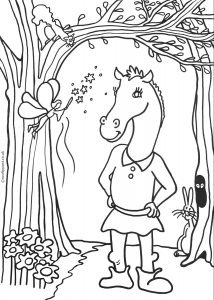 Kids colouring page of Bottom with a donkey's head, as in Shakespeare's magical play: A Midsummer Night's Dream