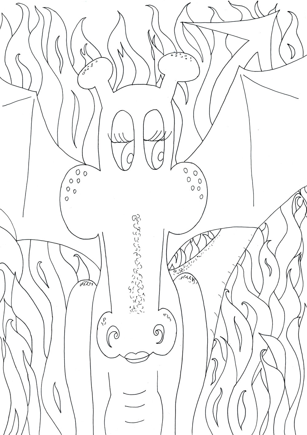 A gorgeous colouring in page of a dragon surrounded by its flames