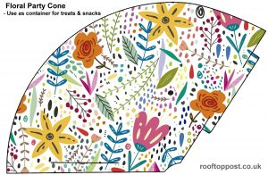 Brighly coloured printable cone decorated with flowers, which can be used as a party hat or a holder for treats.