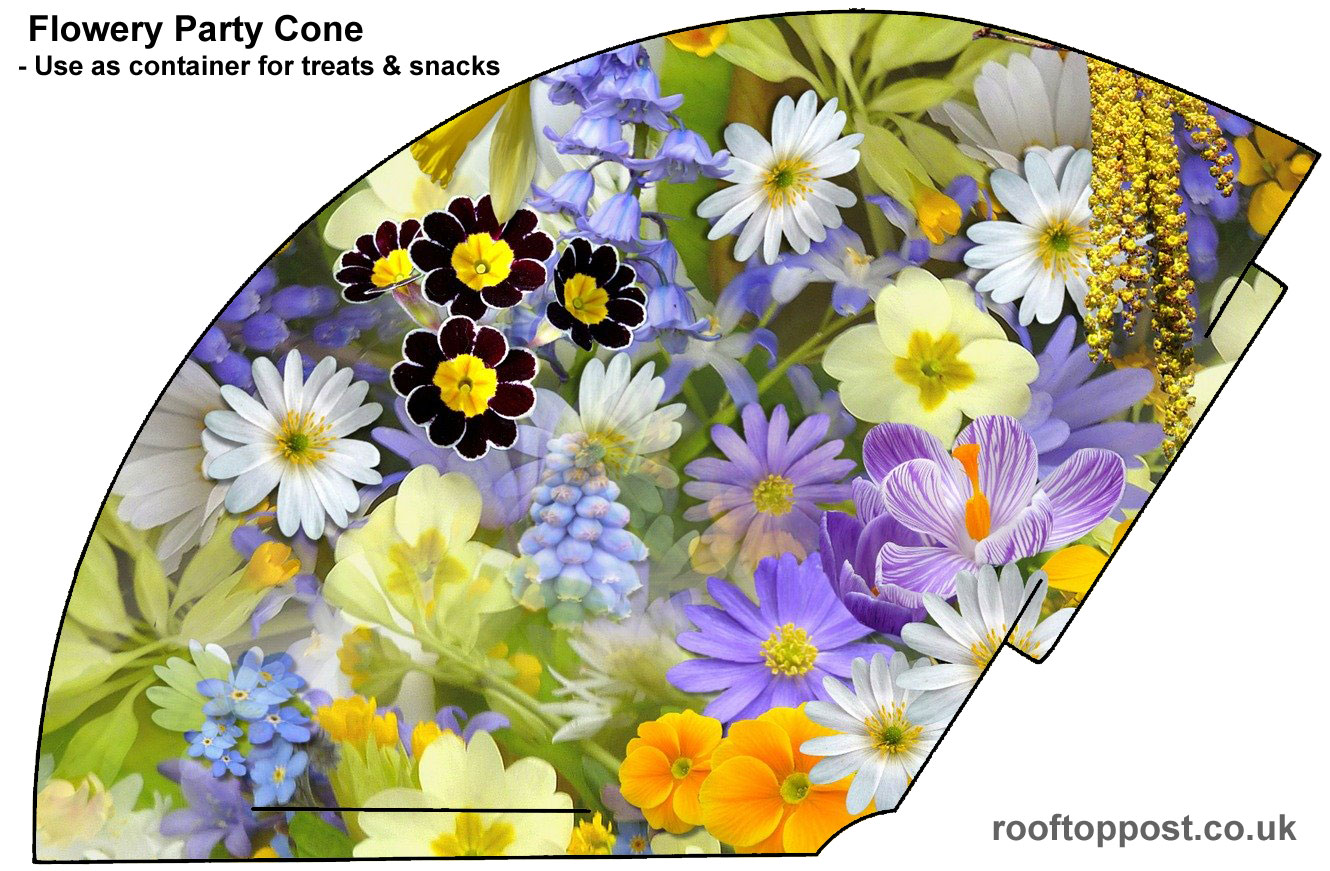 Flowery cone to print which can be used for party treats or as a party hat