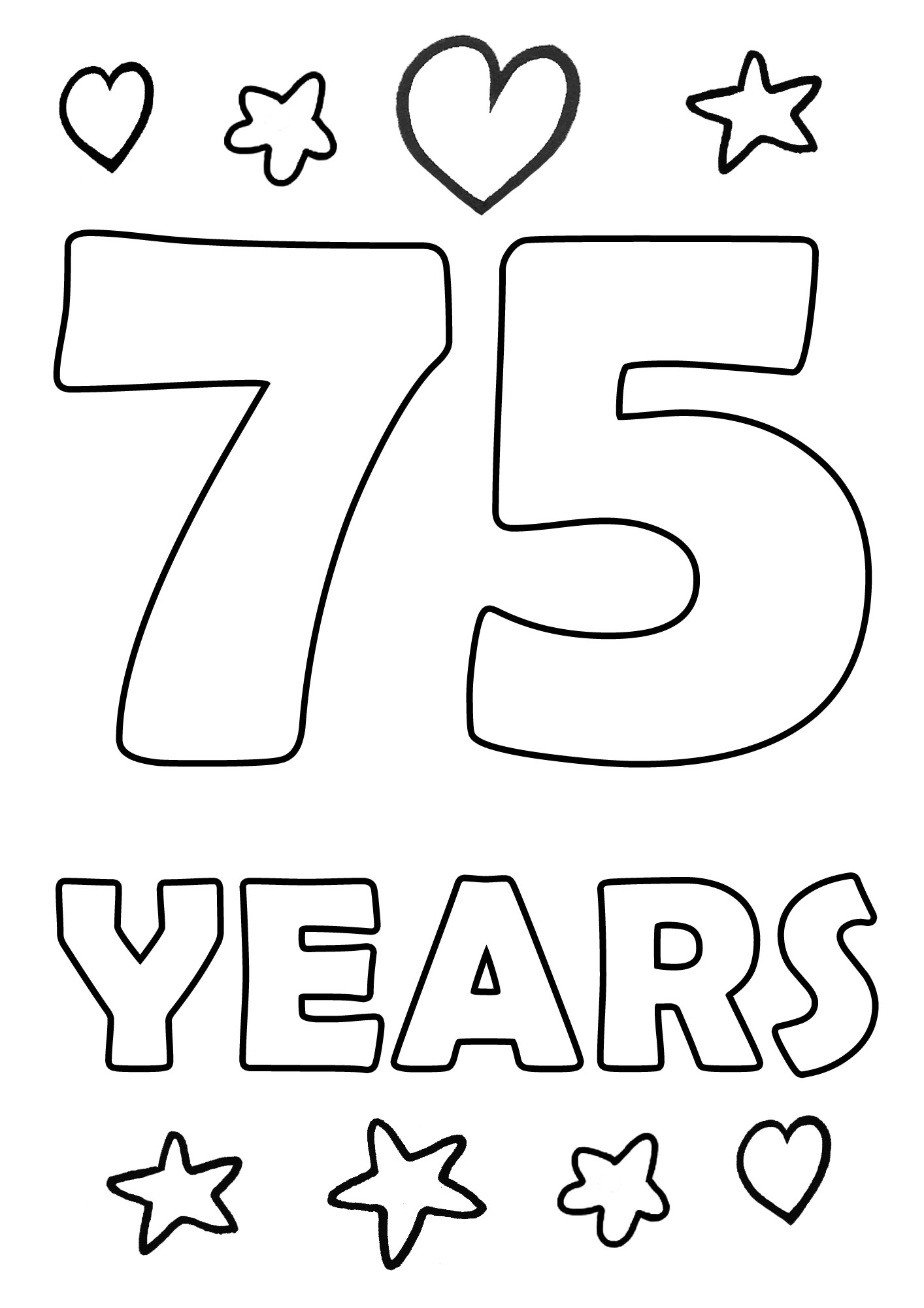 Printable colouring page for anniversaries of 75 years