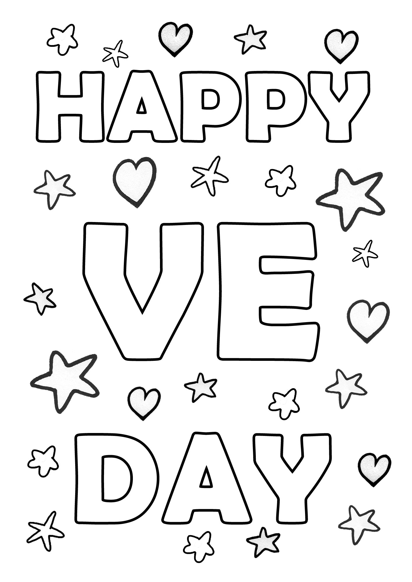 Printable colouring page saying happy VE day