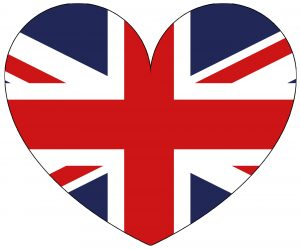 Large UK flag decorative heart for decorations and crafting