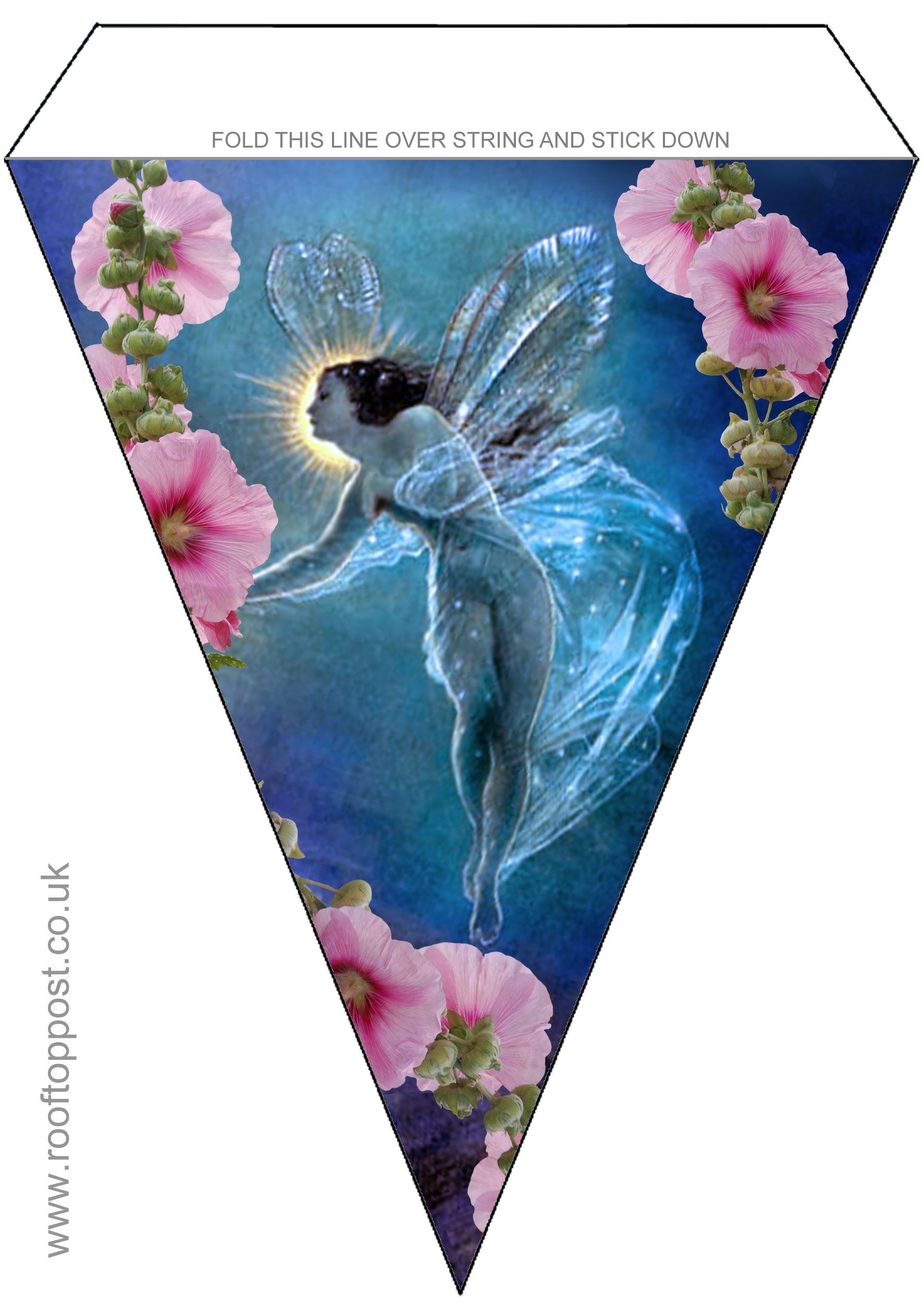 Large triangular bunting of a beautiful fairy surrounded by flowers. Great for summer parties and especially popular on Midsummer Night's Eve.
