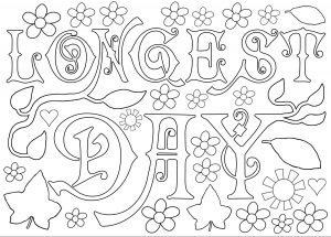 Kids colouring page for the longest day of the year