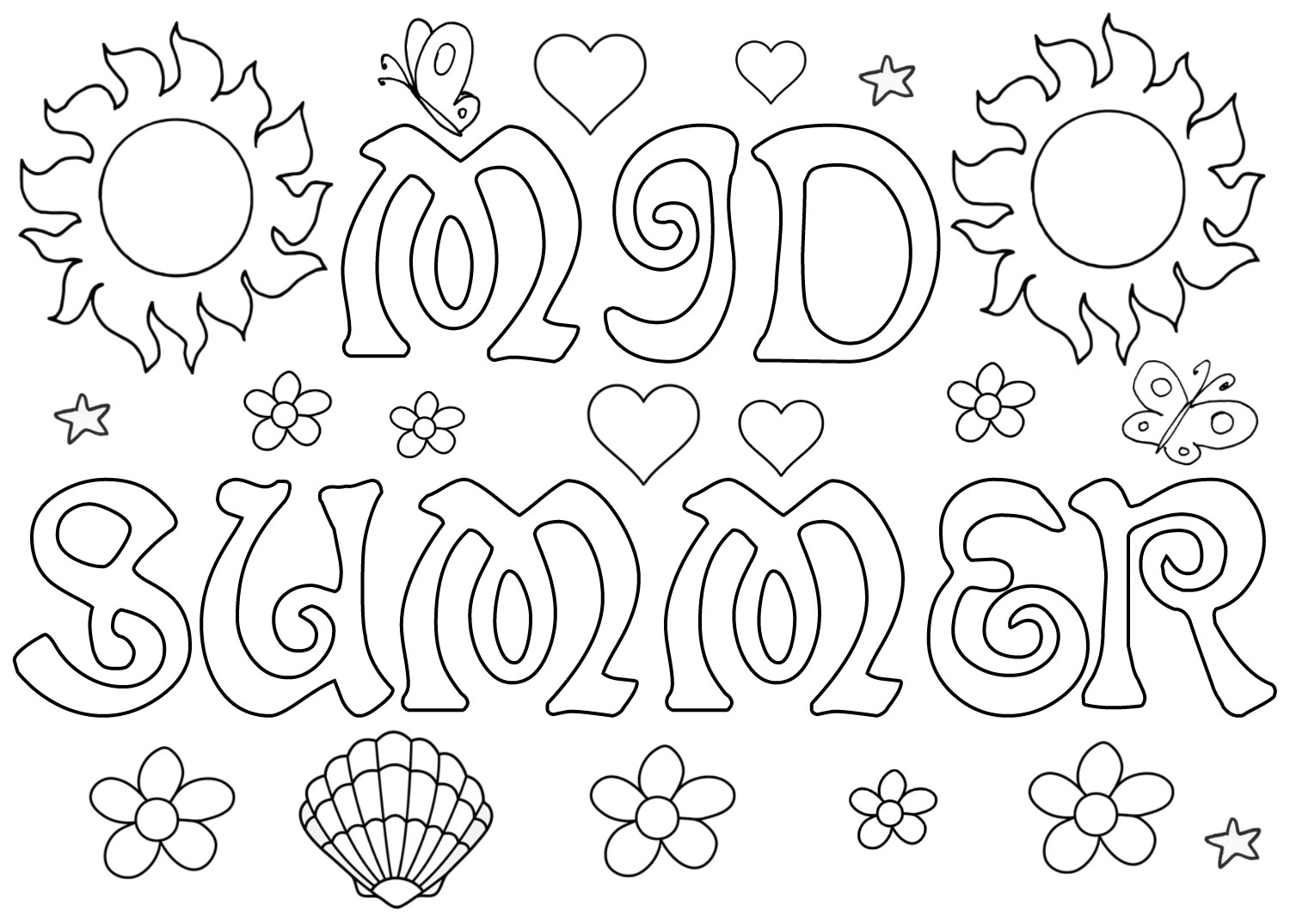 Printable mid-summer colouring in page