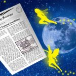 A picture of the summer issue of our newspaper from Fairyland, The Midnight Messenger, being carried accross the starlit sky by three fairies.