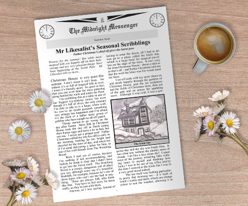 Summer Issue of a magical newspaper, the Midnight Messenger, lying on a table scattered with daisies.