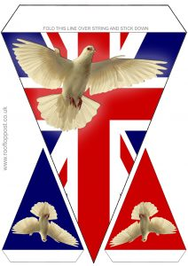 British flag and dove of peace bunting to print