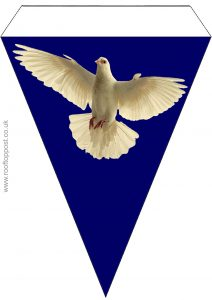 Large triangular bunting with bearing a picture of a white dove of peace on a blue background