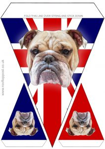 Printable bunting of the British flag and bulldog. Useful for UK celebrations such as VE Day