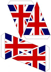 Free printable UK flag bunting, 4 flags to a page