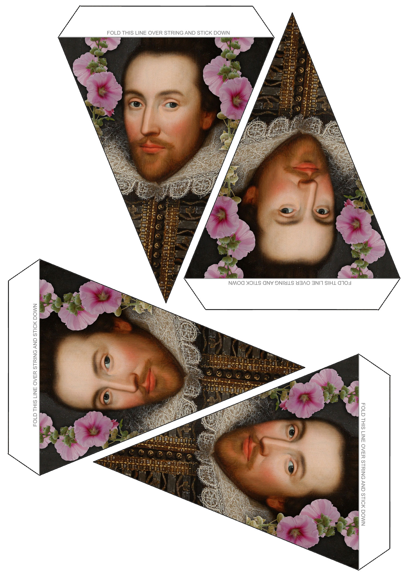 A sheet of decorative bunting with a Shakespearean theme. Designed for midsummer parties.