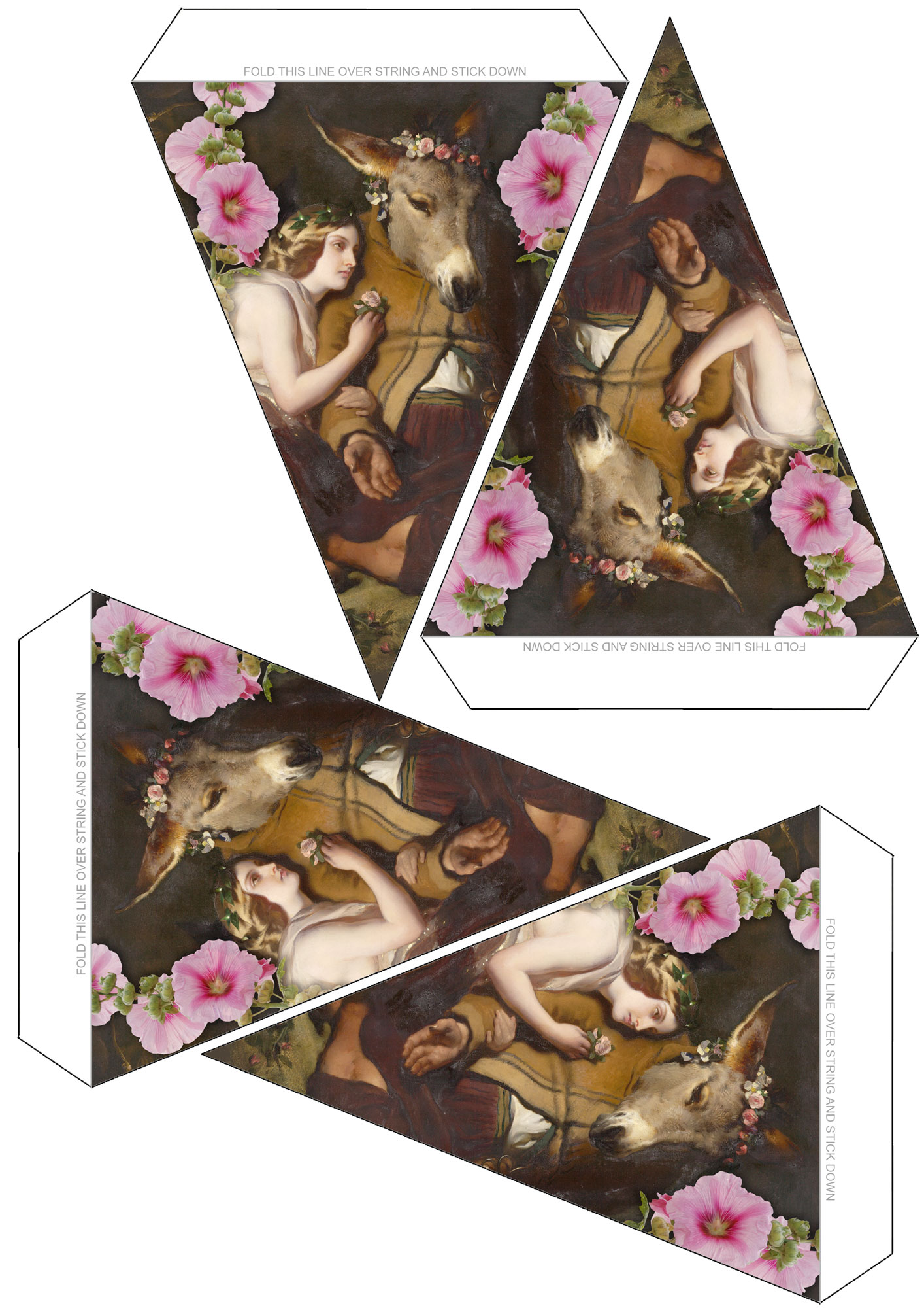 A sheet of bunting inspired by Titania falling in love with Bottom in Shakespeare's A Midsummer Night's Dream.