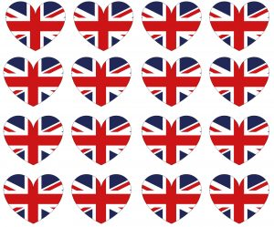 Printable page of small UK flag hearts for crafting and decorating