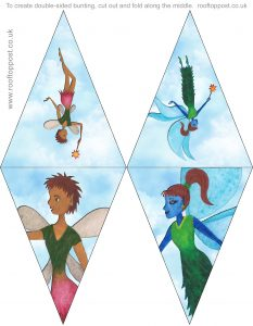 Printable bunting of two lovely fairies flying through the sky, great for children's parties