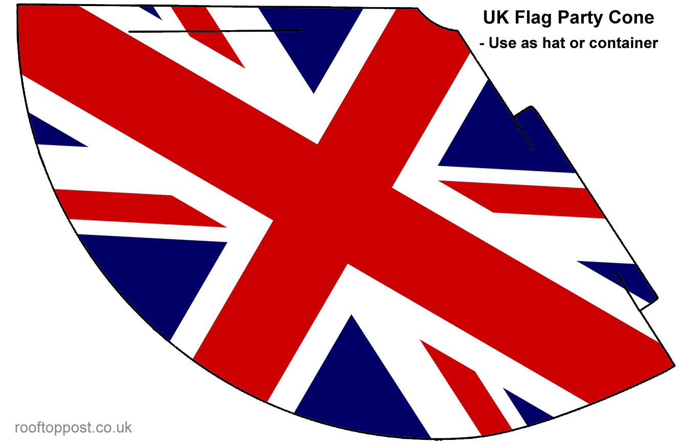 Printable UK flag party hat or cone