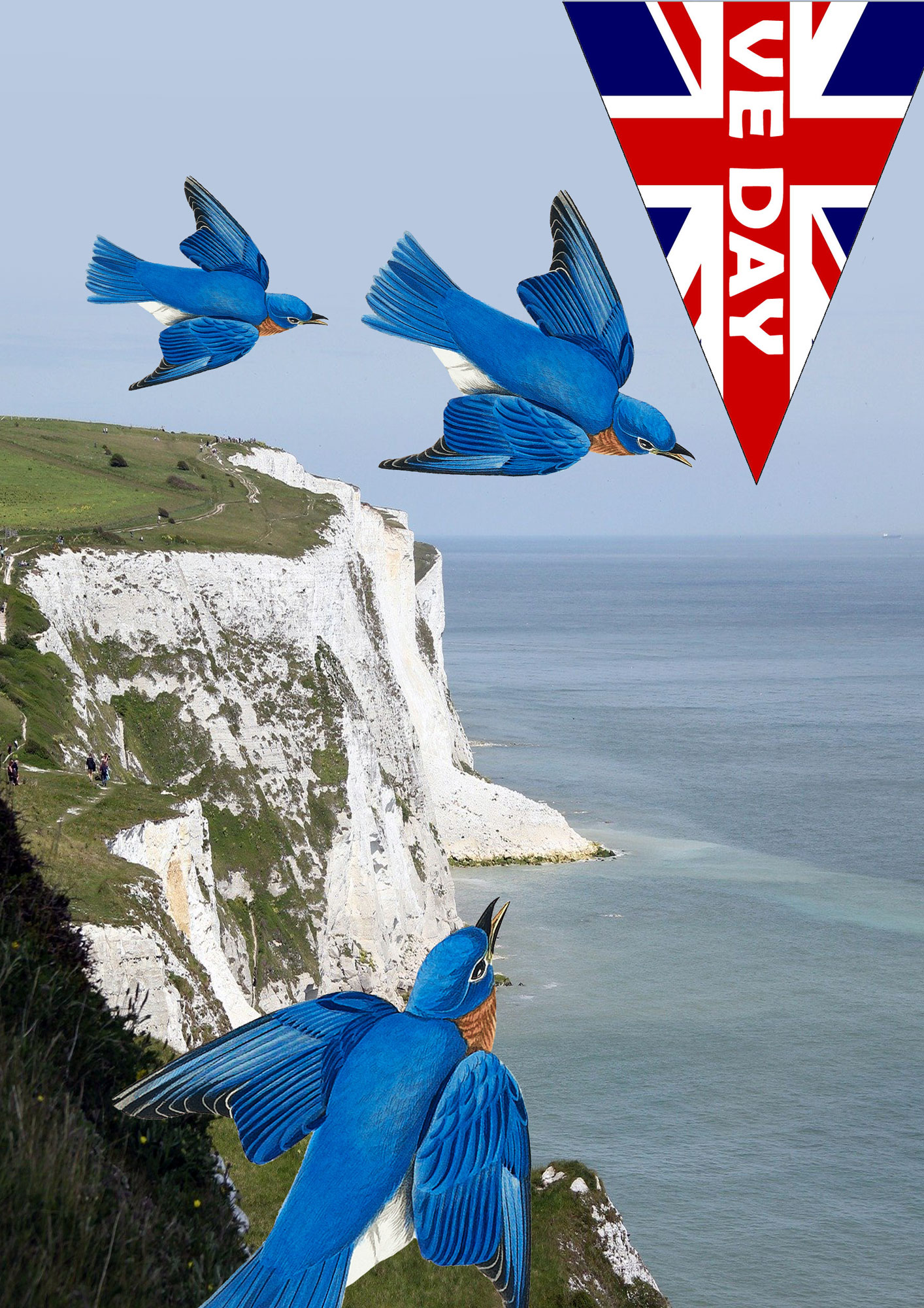 Full-length poster for VE Day showing a gorgeous picture of bluebirds flying over the white cliffs of Dover, as in the song.