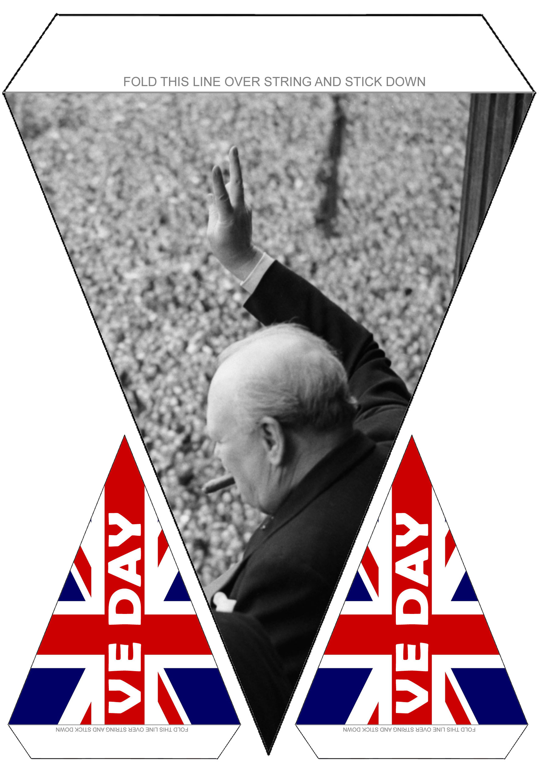 Large bunting to decorate for VE Day, showing Churchill making a peace sign to the crowds