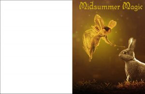 A printable midsummer greetings card picturing a fairy.