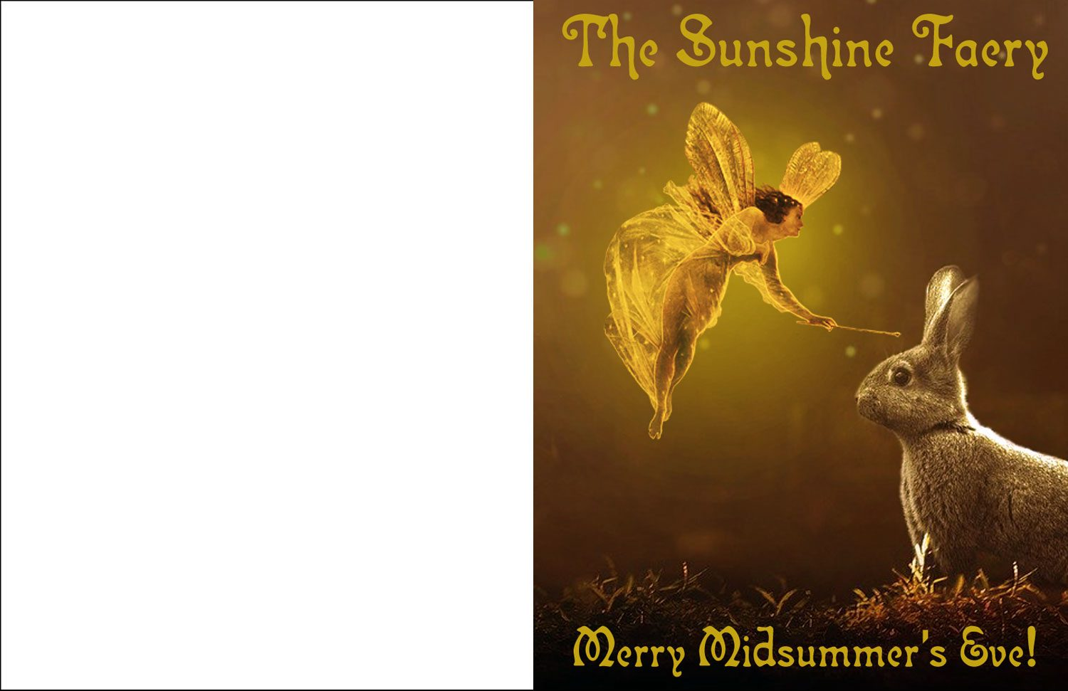 A printable card to say merry midsummer's eve, picturing the Sunshine Faery