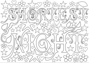 Printable colouring in page for the shortest night, or Midsummer's Night