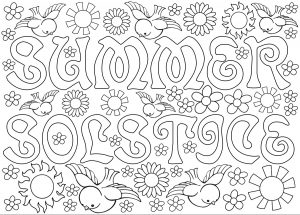 Printable cummer solstice colouring in.