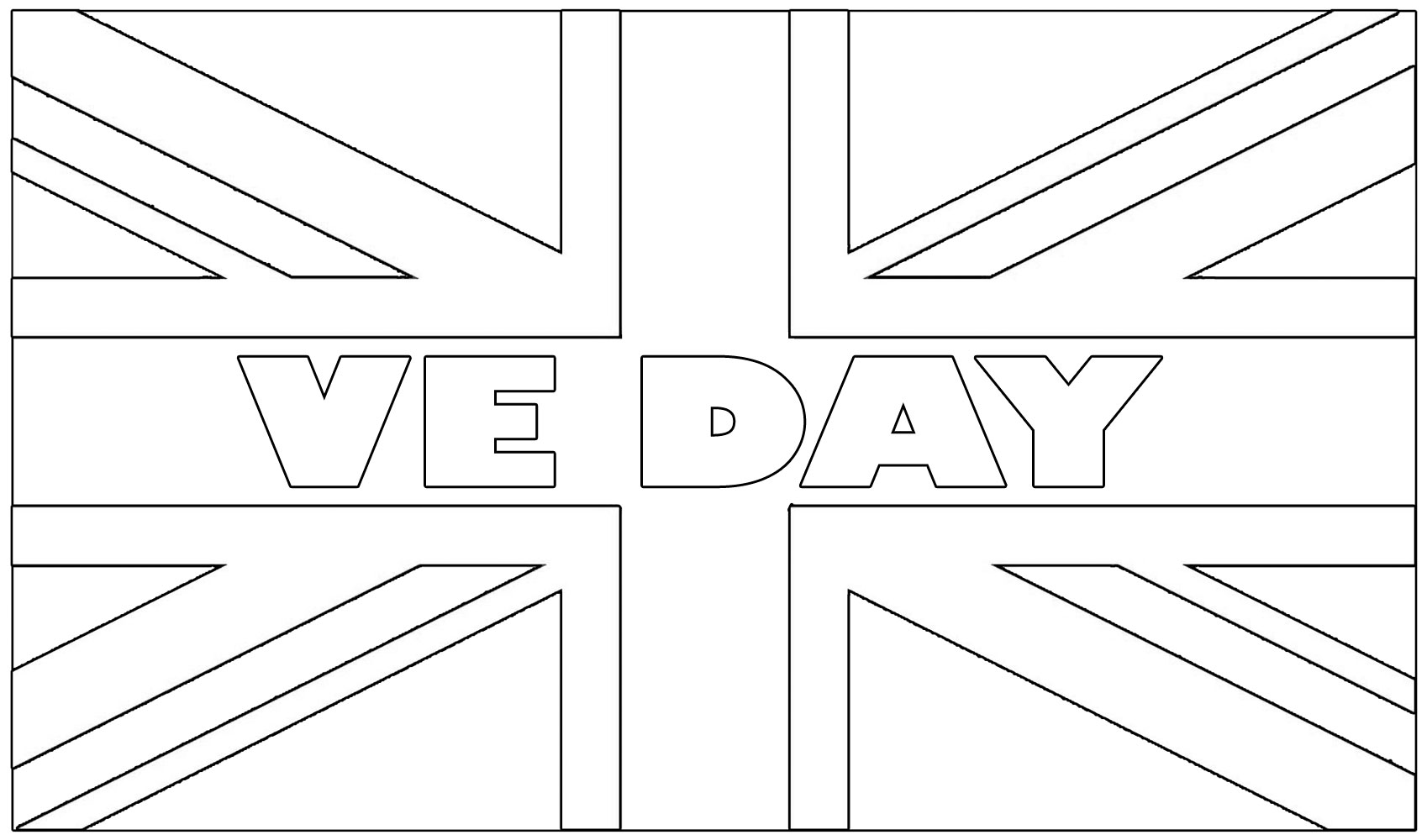 VE Day Colouring: UK Flag | Rooftop Post Printables