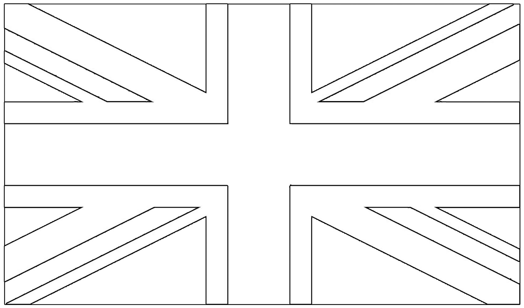 Blank template of the British flag to colour in
