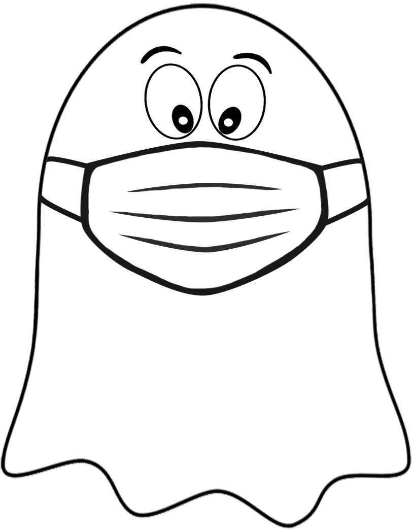 Printable ghost wearing a face mask - perfect for 2020 Halloween decorations in light of Covid19