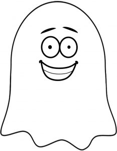 Printable grinning ghost decoration