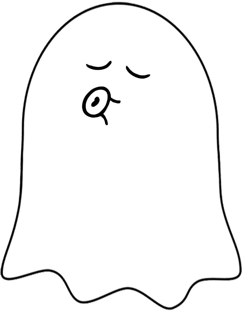 Printable ghost with a kissy face to decorate for Halloween
