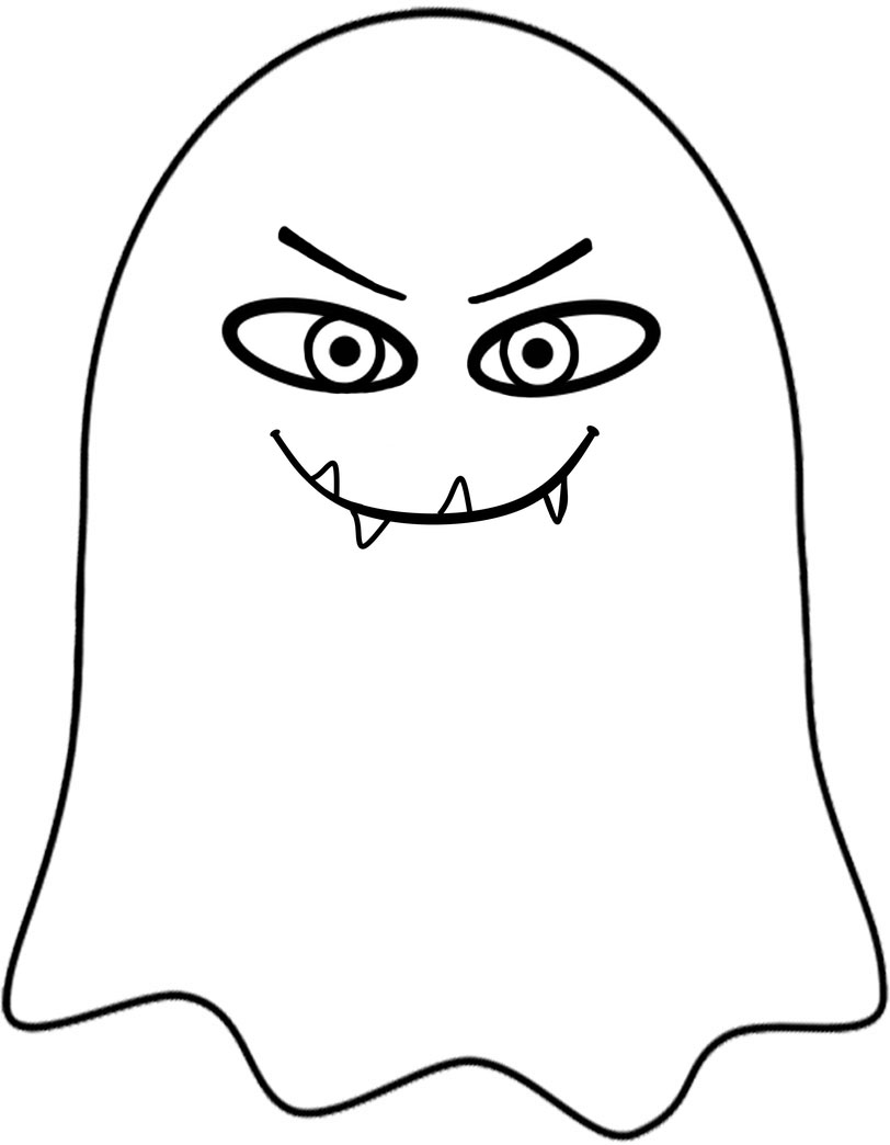 Mean-looking ghost to print for Halloween