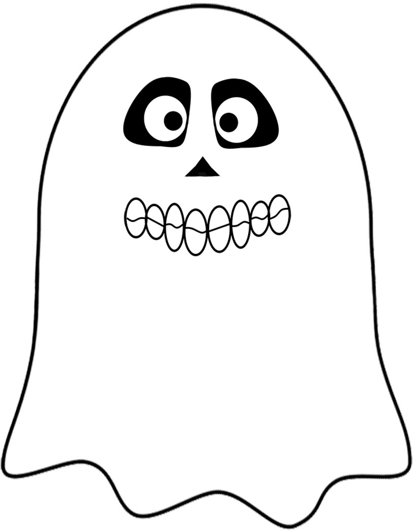 A skull-themed ghost to print as a Halloween decoration