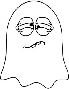 This tired looking ghost is a comedy ghost decoration to print for Halloween