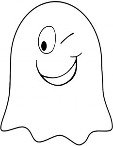 Printable winking ghost to decorate for Halloween