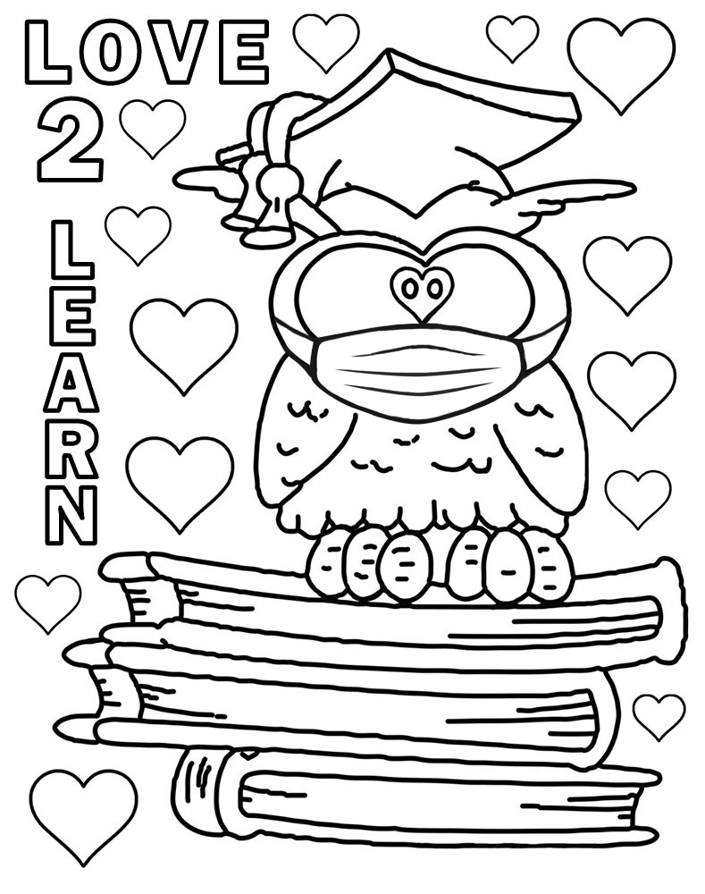 A colouring page of an owl wearing a mask. A positive reminder of the importance of wearing masks at school during the coronavirus pandemic.