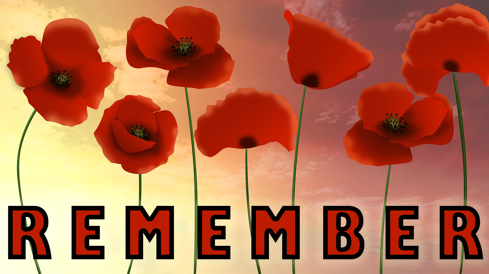 Poster of remembrance, picturing poppies, a sunset, and the word remember. Intended for Remembrance Sunday