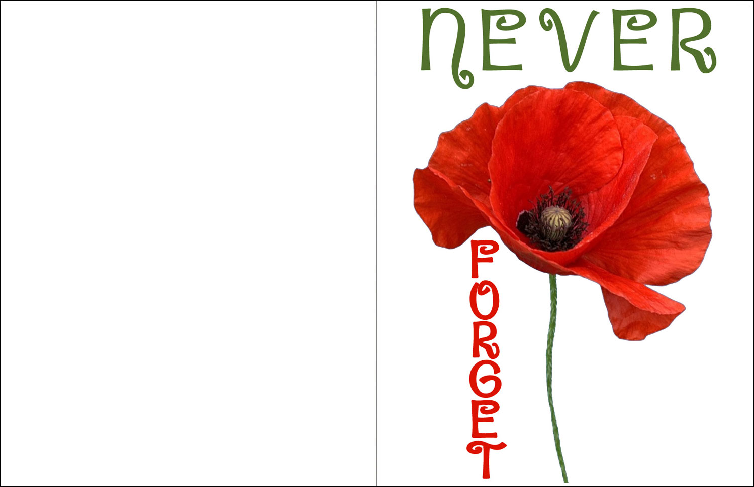 A printable remembrance card with a poppy on, reading Nefer Forget