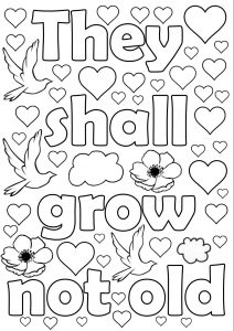 Printable colouring for Remembrance Sunday - They shall grow not old