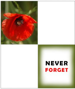A printable four-fold remembrance card with a poppy on the front and saying Never Forget inside