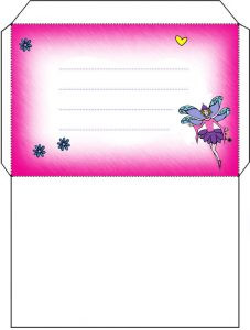 Pink fairy envelope to print out for your child
