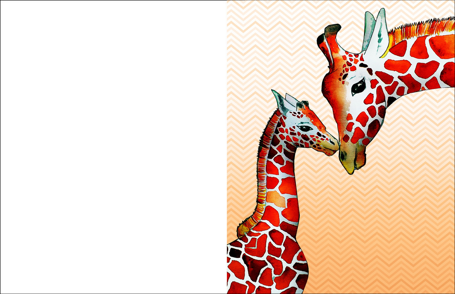 Free printable greetings card picturing a giraffe and child.