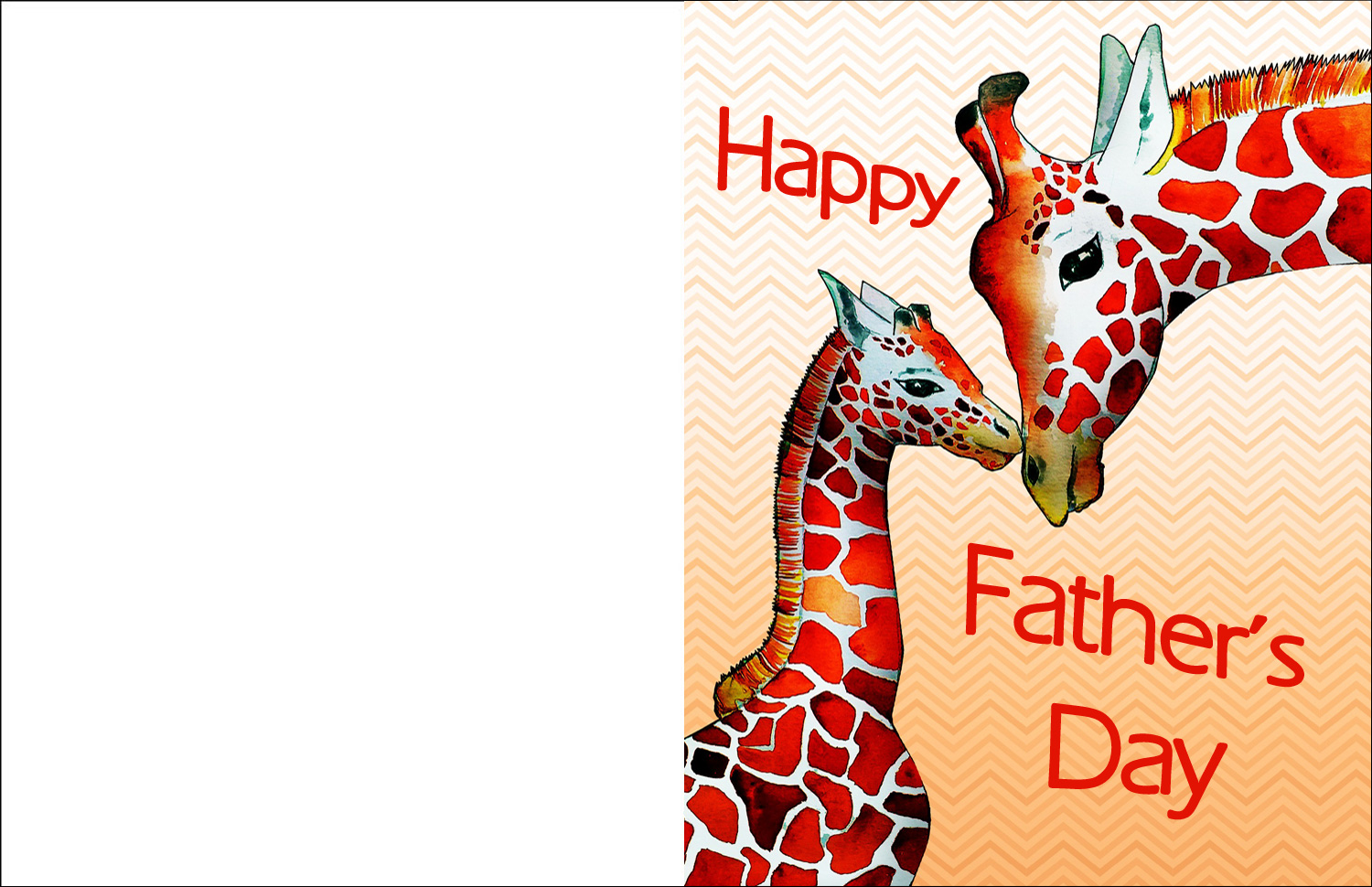Free printable Father's Day card picturing a giraffe and his son.
