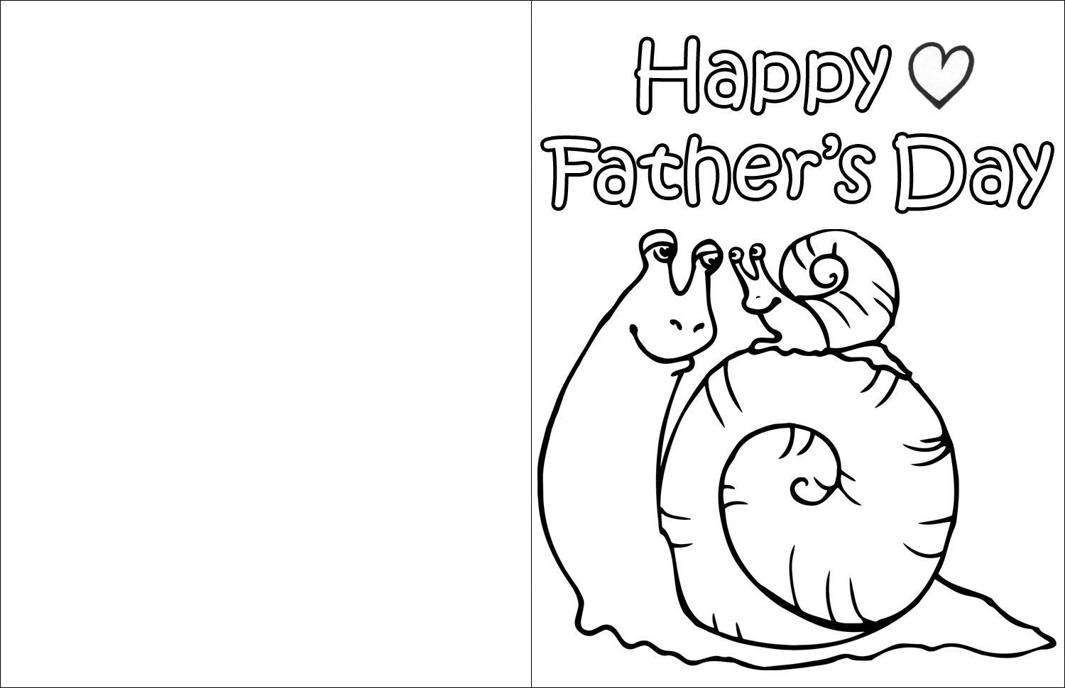 Printable Father's Day card for kids to colour in, picturing Dad and Baby Snail