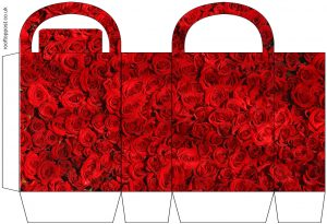 Printable red roses gift bag. Useful for parties, weddings, birthdays and Valentine's Day.